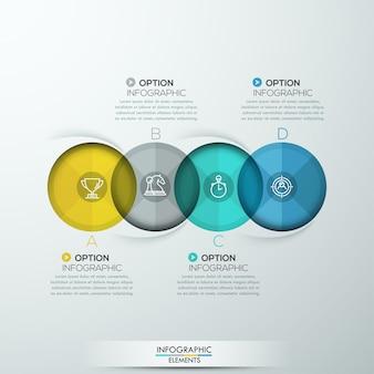 4つのオプションを持つモダンなスパイラルインフォグラフィック