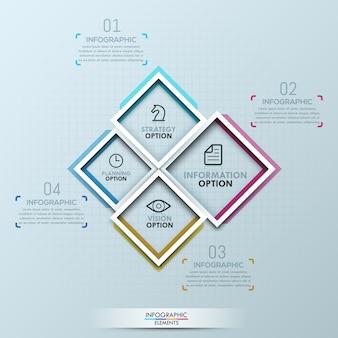 4つの正方形の創造的なインフォグラフィック