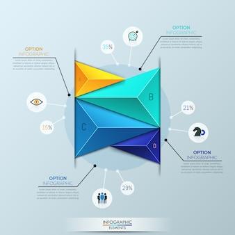 インフォグラフィックテンプレート、4色とりどりの三角形の要素を持つ棒グラフ