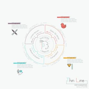 Инфографика, круговая диаграмма с 4 закругленными элементами, расположенными вокруг центра и текстовых полей