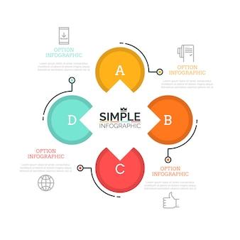 Цветочная диаграмма лепестка с 4 круглыми элементами, тонкими символами линии и текстовыми полями. четыре последовательных шага концепции циклического бизнес-процесса.