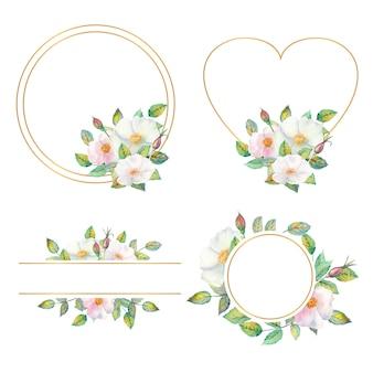 白いローズヒップの花、赤い果実、水彩画の手法で分離された緑の葉を持つ4花フレームのセット。