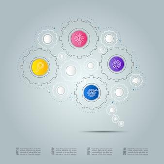 Концепция бизнес-связи инфографического дизайна в виде символа мозга с 4 вариантами.