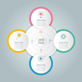 Концепция бизнес-инфографического дизайна с 4 вариантами.