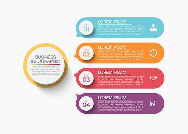 4つのオプションを持つプレゼンテーションビジネスサークルインフォグラフィックテンプレート
