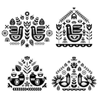 4つのシングルパターンによるフォークアートパターンのコレクション。