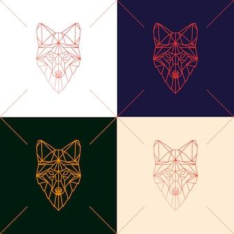 幾何学的なシルエットの4つの狐の頭のセット。