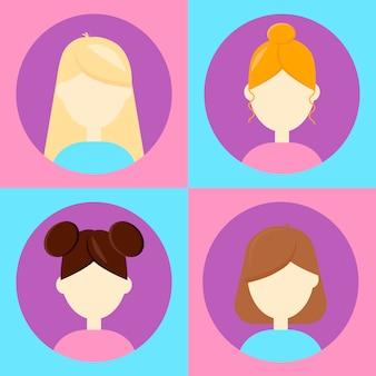 ベクトル図。ユーザー、女性、女性のための4つのアバターを設定