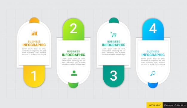 4ステップのインフォグラフィックテンプレート