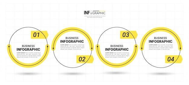 4つのステップのタイムラインインフォグラフィックデザインテンプレート。