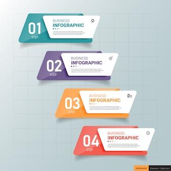 長方形のインフォグラフィックテンプレート4つのステップ