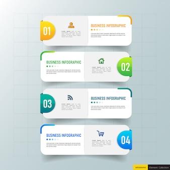 創造的なインフォグラフィック4ステップテンプレート