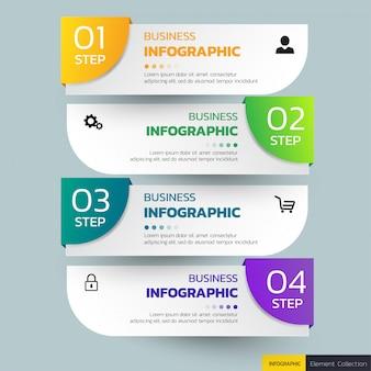 ビジネスインフォグラフィックス4ステップテンプレート