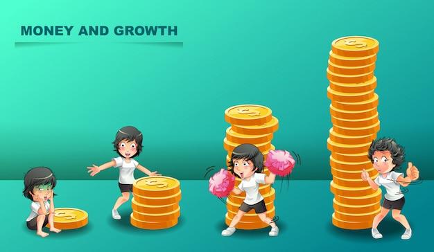 お金と4つの異なるキャラクターの成長。