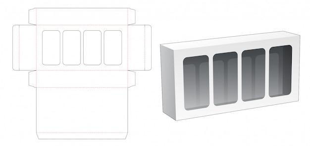 4ウィンドウダイカットテンプレート付きの梱包箱