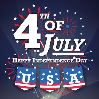 Американский 4 июля открытка с фейерверком ночью