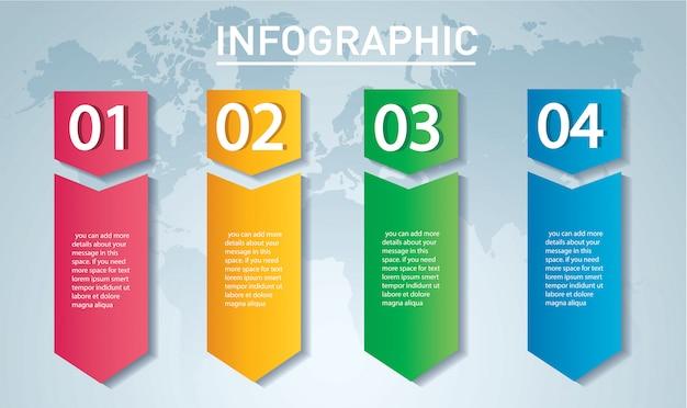 4つのオプションを持つ矢印インフォグラフィックテンプレート