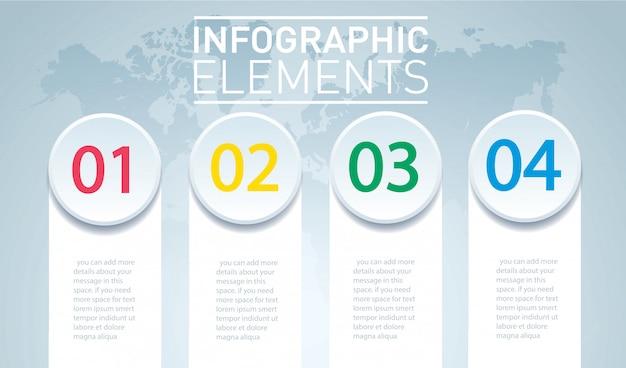 4つのオプションを持つサークルインフォグラフィックテンプレート