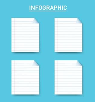 Бумажная линия квадратная информация графический шаблон с 4 вариантами