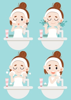 4ステップで彼女の顔を掃除する少女。スポンジで化粧品を拭き、顔をきれいにする、泡を洗うのに水を使って、布で顔を拭く。