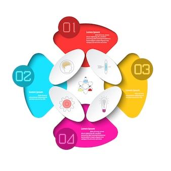 4つのステップを持つビジネスインフォグラフィック。