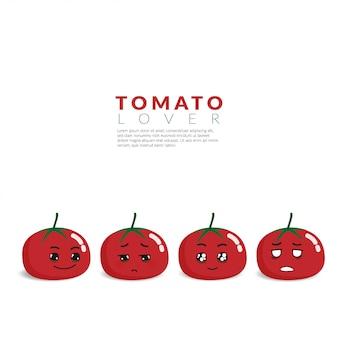 Красный помидор с 4 разными симпатичными эмоциями на лице