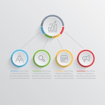 Представление бизнес-инфографического шаблона с 4 вариантами.