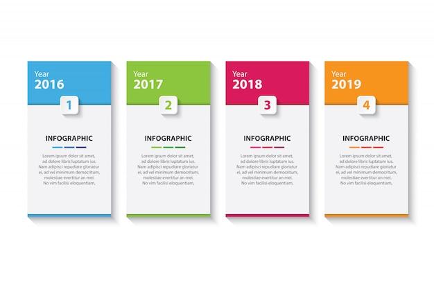 4つのカラフルなタイムラインインフォグラフィックデザインテンプレート