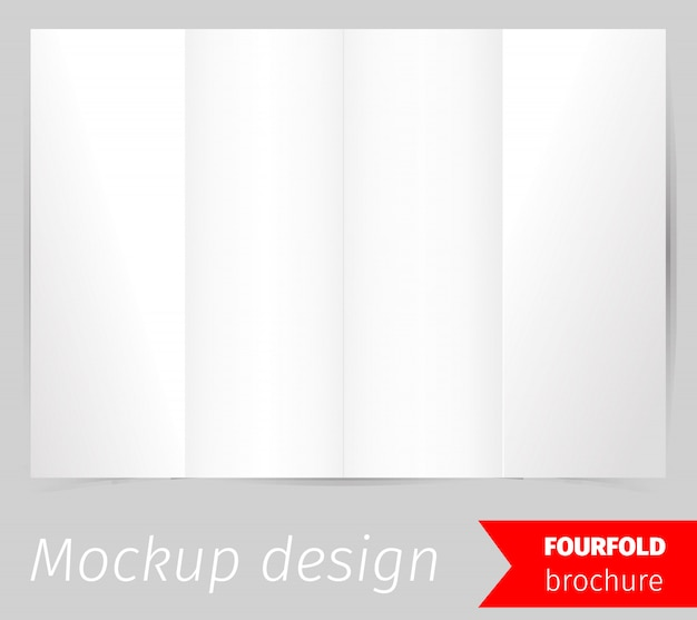 4つ折りパンフレットモックアップデザイン