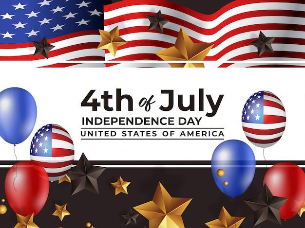 4 июля день независимости америки с реалистичным воздушным шаром