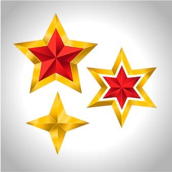 4つの金の星のイラストクリスマス正月休日アイコン