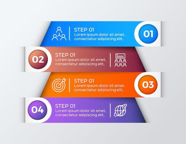 カラフルな4つのステップビジネスインフォグラフィック