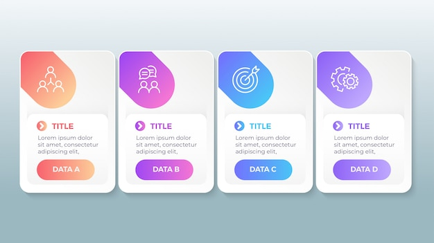 Современная инфографика с 4 вариантами шагов