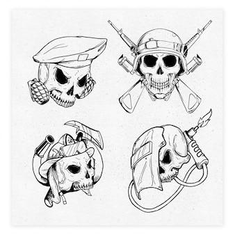 4 черепа профессии иллюстрация