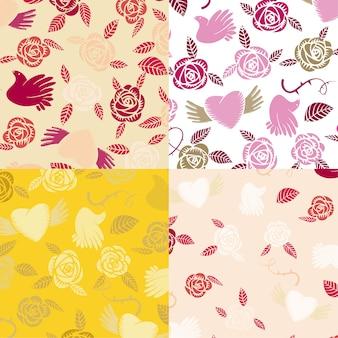 4つのベクトルバレンタインのシームレスパターン