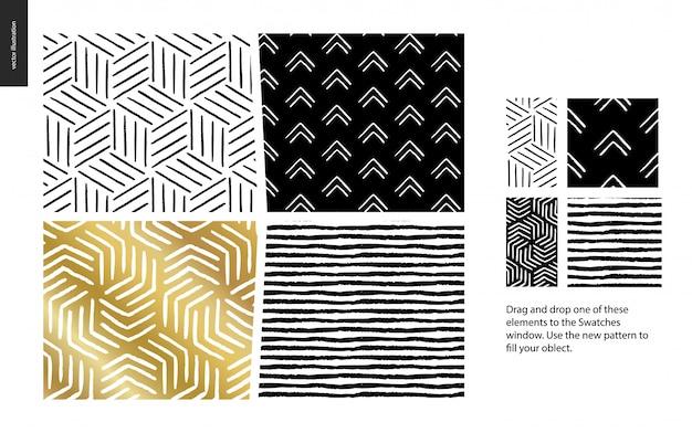 4つの抽象的なシームレスパターンのセットです。幾何学的な線、点および形
