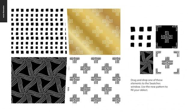 手描きのパターン -  4つの抽象的なシームレスパターンのグループセット - 黒、金と白。幾何学的な線、点および形 - 部分