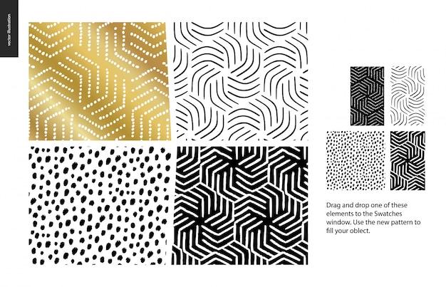 黒、金、白の4つの抽象的なパターンのセット
