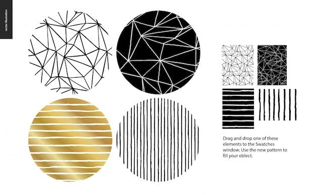 4つの抽象的なシームレスパターンのグループセット