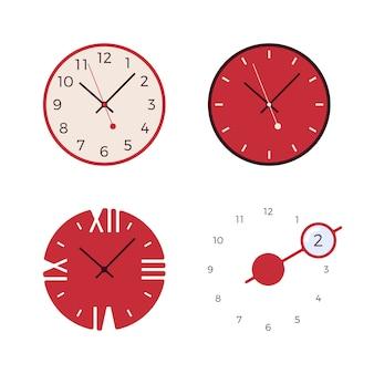 4つのレトロな壁時計のセット
