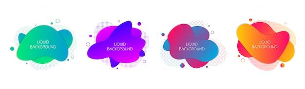 4つの抽象的な現代的なグラフィック液体形状のセット
