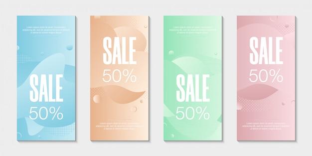 Набор из 4 абстрактных современных графических жидких баннеров.