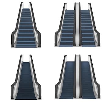 エスカレーターエレベーター階段リフトモックアップセット。ウェブの4エスカレーターエレベーター階段リフトモックアップのリアルなイラスト