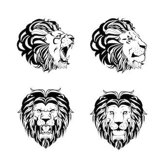 ライオンの頭を持つ4つの彫刻のコレクション