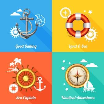 Морская концепция дизайна 4 плоских иконы