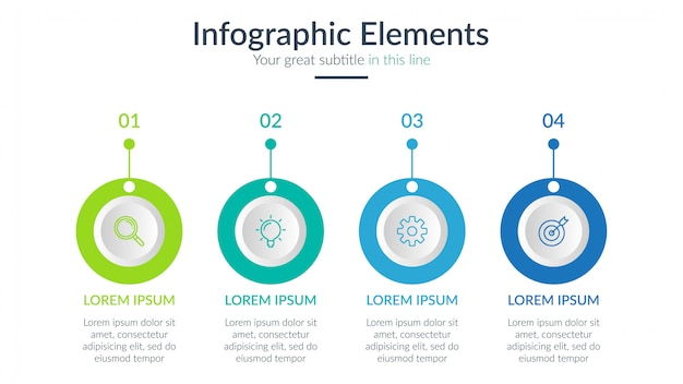 4つのステップビジネスインフォグラフィック