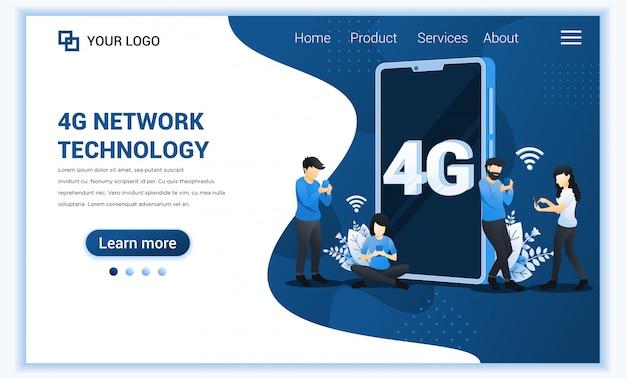 4gネットワークテクノロジーコンセプト、インターネットシステムテレコミュニケーションサービス、高速ワイヤレス接続を使用する人々4g。