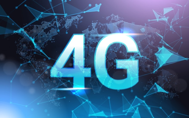 4g internet connection speed sign over futuristic low poly mesh wireframe