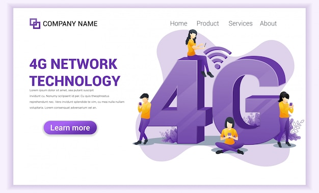 4g network wireless technology landing page.