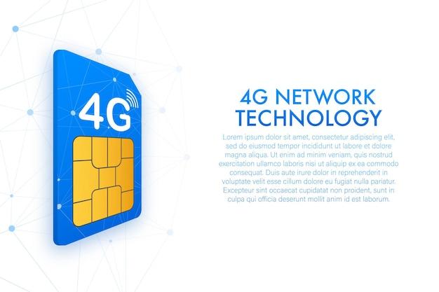 Сим-карта 4g. изометрический вид. символ технологии мобильной связи. векторная иллюстрация.